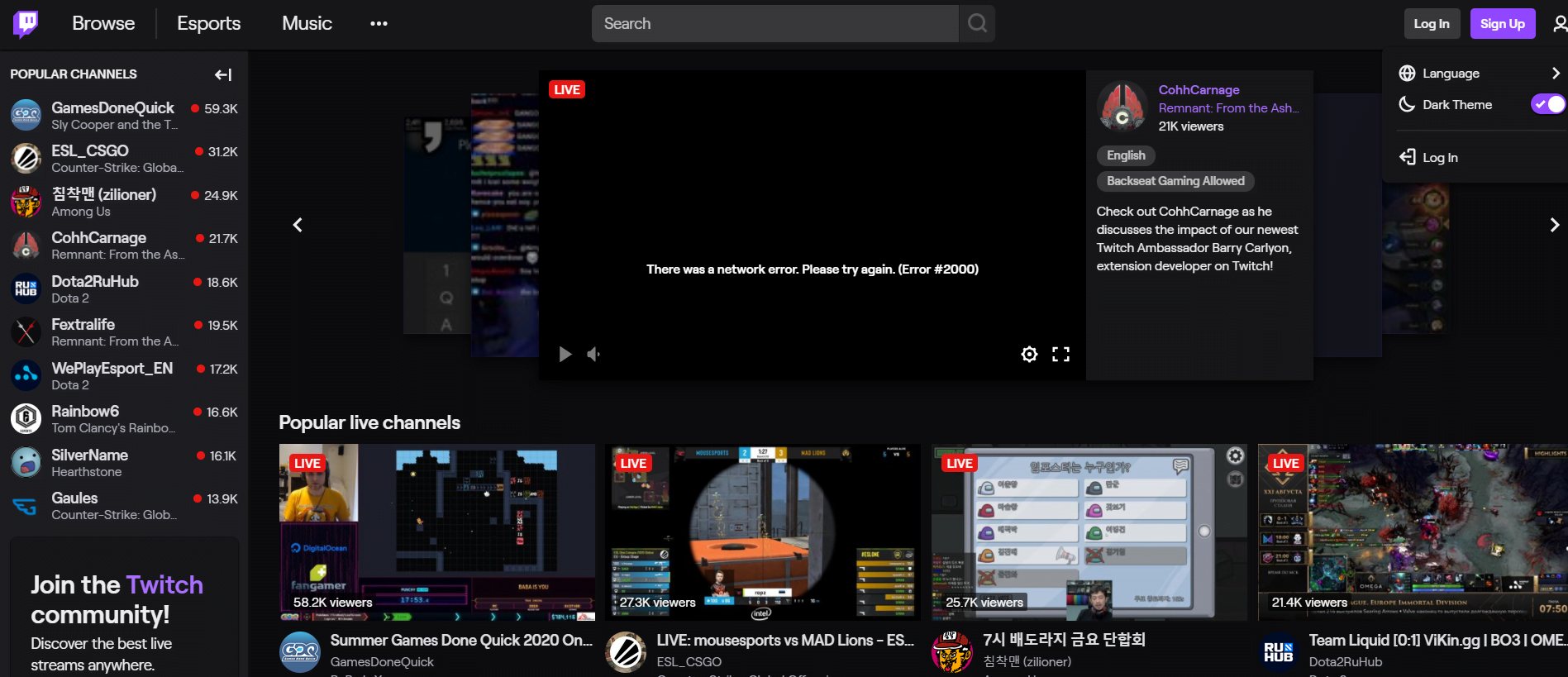 How to Twitch dark mode